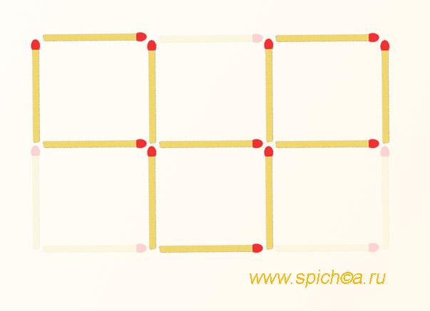 Оставьте 3 квадрата, убрав 5 спичек - ответ 1