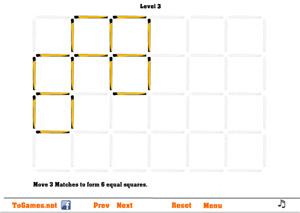 игра головоломки со спичками квадраты