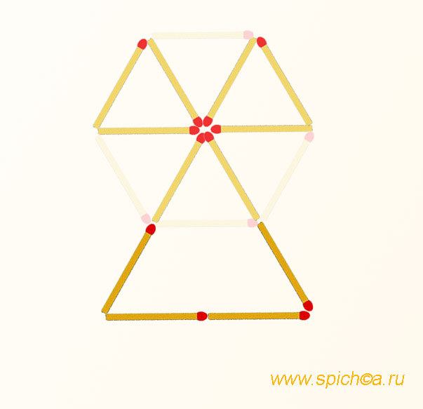 Из 6 спичечных треугольников три - решение