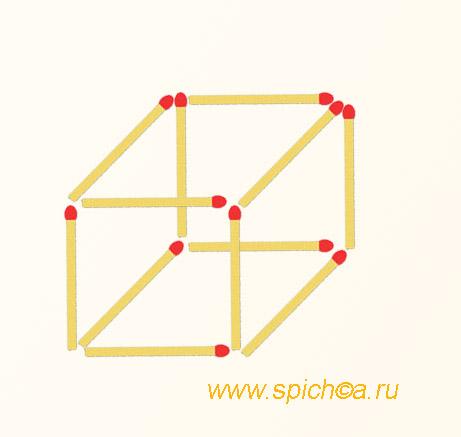 6 спичечных квадрата из 12 спичек - решение