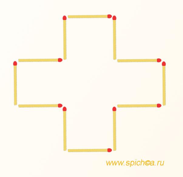 Фигура из 12 спичек площадью 4