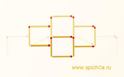 Из 13 спичек 4 квадрата - решение