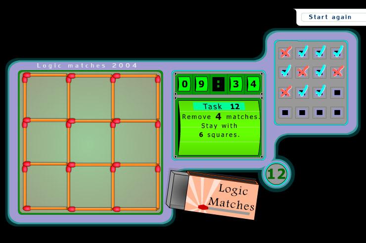 Играть онлайн Logic Matches квадраты игра