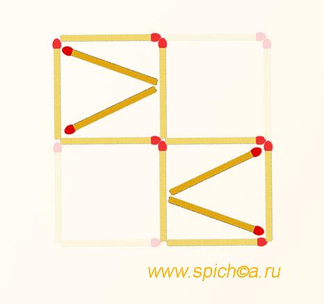 Из 4 квадратов 6 треугольников - решение