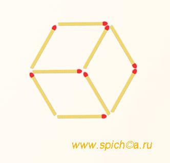 Из 9 спичек три четырехугольника - решение