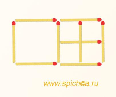 Из 9 спичек 6 квадратов - решение