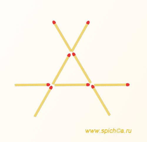 Из 3-х линий 5 треугольников