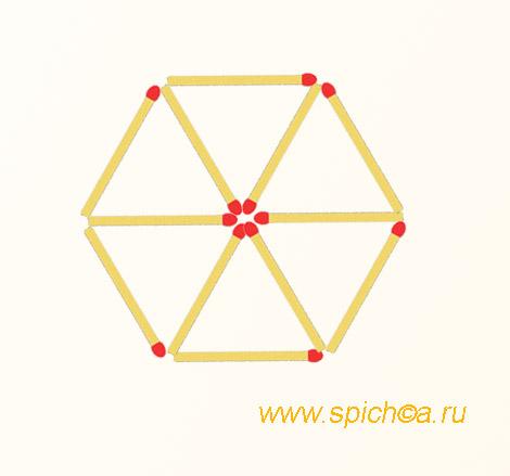 Из 6 треугольников 5 четырехугольников