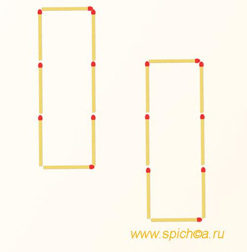 Из 2 прямоугольников четыре квадрата