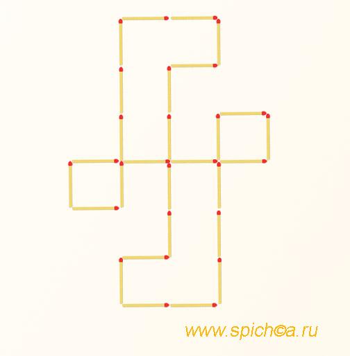 Переложить 6 спичек - 7 квадратов