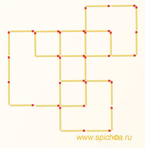 Переложить 3 спички - шесть квадратов