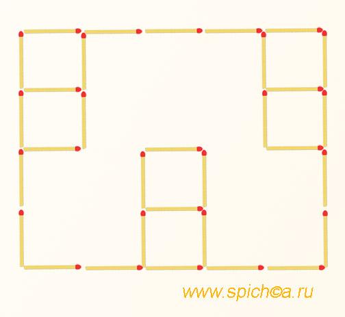 Переложить 3 спички - восемь квадратов