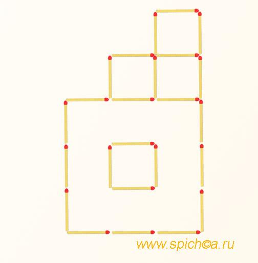 Переложите 3 спички - 4 квадрата