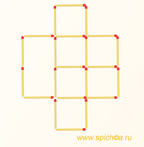 Переложить 4 спички - 5 квадратов