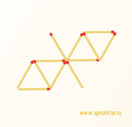 Переложить 2 спички - 6 треугольников